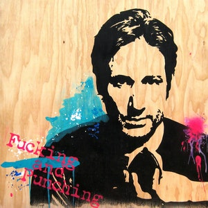 (CreativeWork) Moody (David Duchovny – Californication) by Sioux Tempestt. arcylic-painting. Shop online at Bluethumb.