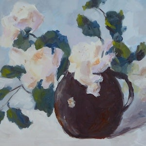 (CreativeWork) Little Brown Jug by Barry O'Brien. oil-painting. Shop online at Bluethumb.