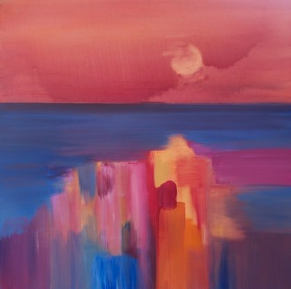 (CreativeWork) Sunset over the ocean    by Laurie Jean Cochrane. Oil Paint. Shop online at Bluethumb.
