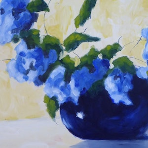 (CreativeWork) Blue on Blue by Barry O'Brien. oil-painting. Shop online at Bluethumb.