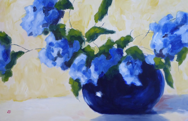 (CreativeWork) Blue on Blue by Barry O'Brien. Oil Paint. Shop online at Bluethumb.