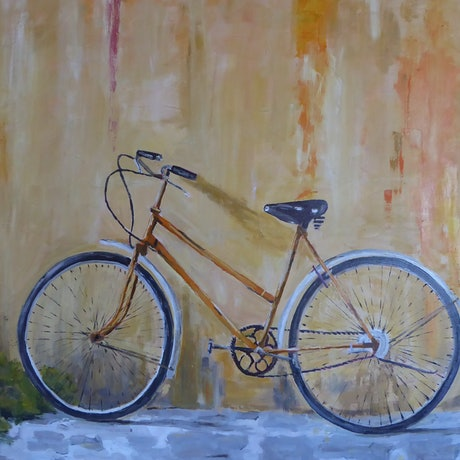 (CreativeWork) Old Bike leaning on a wall by Barry O'Brien. Oil Paint. Shop online at Bluethumb.