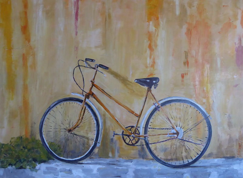 (CreativeWork) Old Bike leaning on a wall by Barry O'Brien. oil-painting. Shop online at Bluethumb.
