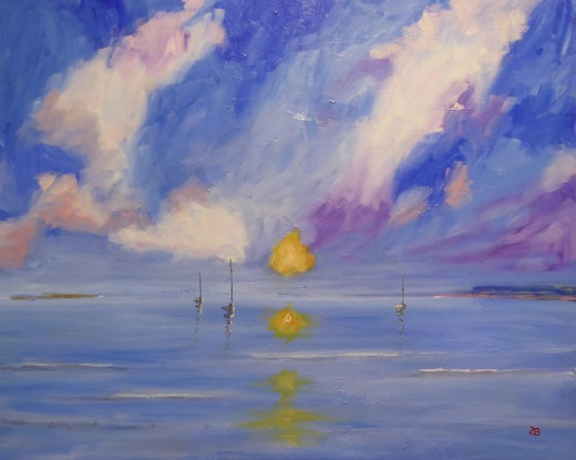 (CreativeWork) Sunset on Mornington Peninsula by Barry O'Brien. Oil Paint. Shop online at Bluethumb.