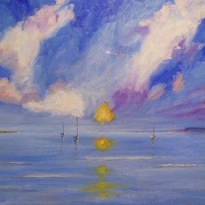 (CreativeWork) Sunset on Mornington Peninsula by Barry O'Brien. oil-painting. Shop online at Bluethumb.