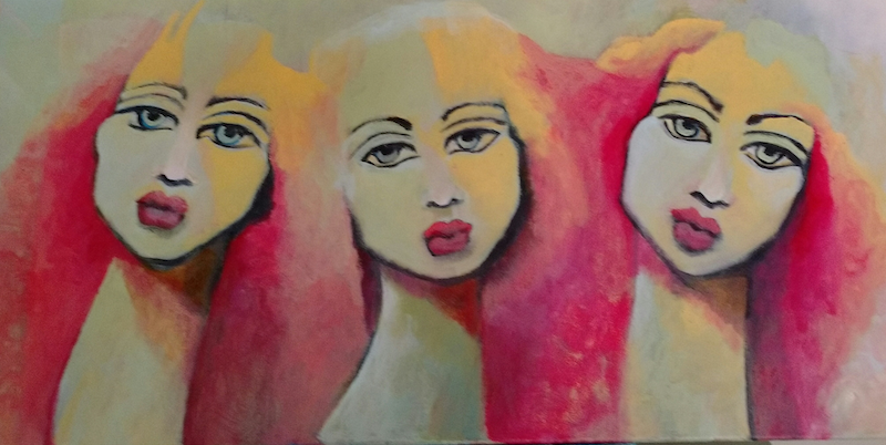 (CreativeWork) The Girls by kezz hall. arcylic-painting. Shop online at Bluethumb.