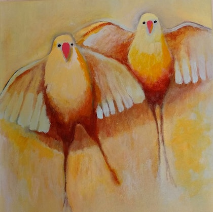 (CreativeWork) Birds by kezz hall. arcylic-painting. Shop online at Bluethumb.