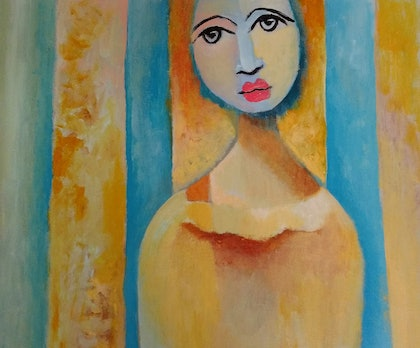 (CreativeWork) Yellow Girl by kezz hall. arcylic-painting. Shop online at Bluethumb.