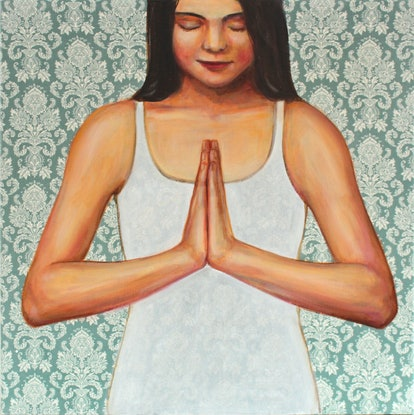(CreativeWork) Namaste by Leah Mariani. Oil Paint. Shop online at Bluethumb.