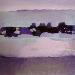 (CreativeWork) Purple Landscape 2 by kezz hall. arcylic-painting. Shop online at Bluethumb.