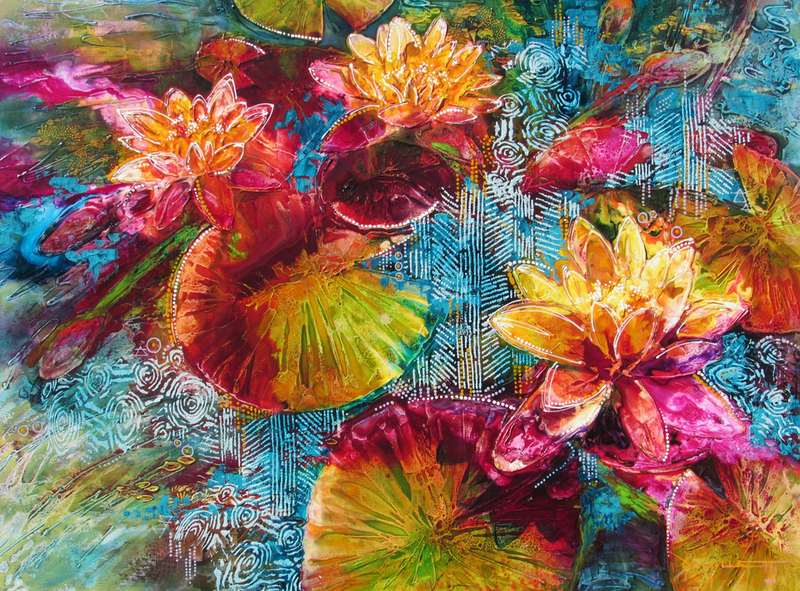 (CreativeWork) Waterlily Depths by De Gillett. mixed-media. Shop online at Bluethumb.
