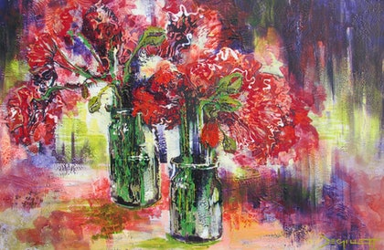 (CreativeWork) Poppy jars by De Gillett. mixed-media. Shop online at Bluethumb.