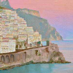 (CreativeWork) Amalfi Village at Dusk by Dai Wynn. oil-painting. Shop online at Bluethumb.