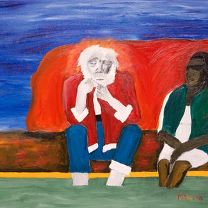 (CreativeWork) Santa's Lament by Mike Francis. oil-painting. Shop online at Bluethumb.