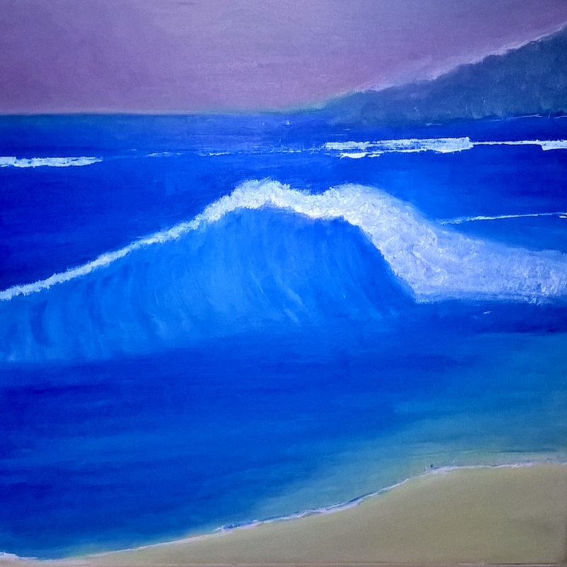 (CreativeWork) wave break at dusk by Daniel Dickens. oil-painting. Shop online at Bluethumb.