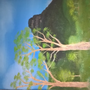 (CreativeWork) Mt Lindsay woodenbong nsw by Daniel Dickens. oil-painting. Shop online at Bluethumb.