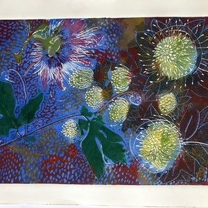 (CreativeWork) Passionfruit and Proteas by Geoff Hargraves. print. Shop online at Bluethumb.