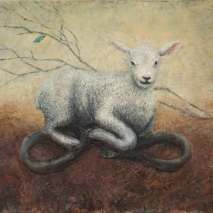 (CreativeWork) Lamb and snake by Marco Corsini. oil-painting. Shop online at Bluethumb.