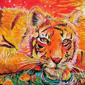 (CreativeWork) Tiger and Goldfish  by Rebecca Read. oil-painting. Shop online at Bluethumb.