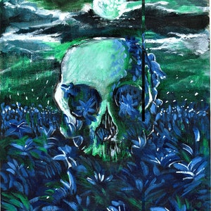 (CreativeWork) Midnight Skull by Rebecca Read. arcylic-painting. Shop online at Bluethumb.