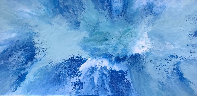 Original Abstract Art Painting On Stretched Canvas Mesmerised Blue White Sea Green