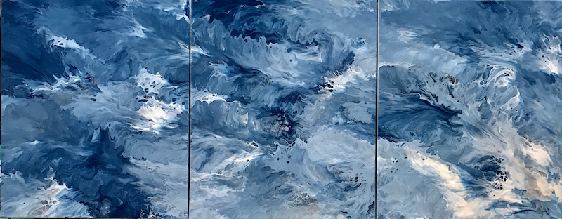 "(CreativeWork) ORIGINAL ABSTRACT ART PAINTING ON STRETCHED CANVAS  ""CREST OF A WAVE TRIPTYCH"" BLUE WHITE SILVER by Debra Ryan. mixed-media. Shop online at Bluethumb."