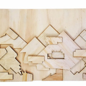 (CreativeWork) Wooded Mountains by Shelby Bassett. other-media. Shop online at Bluethumb.