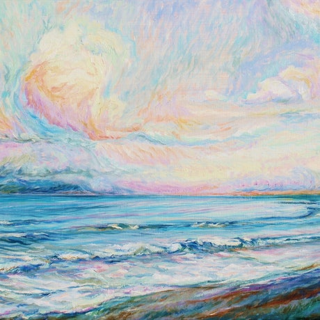 (CreativeWork) Pastel Sea by In Sun Park. Oil Paint. Shop online at Bluethumb.