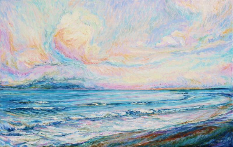 (CreativeWork) Pastel Sea by In Sun Park. oil-painting. Shop online at Bluethumb.