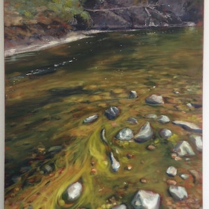 (CreativeWork) Down Where the River Flows by Libby Cusick. acrylic-painting. Shop online at Bluethumb.