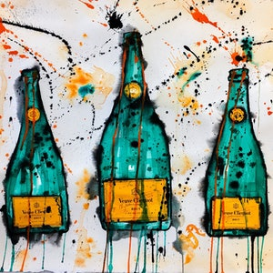 (CreativeWork) Veuve Clicquot Trio by Leith Kennedy. mixed-media. Shop online at Bluethumb.