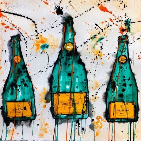 (CreativeWork) Veuve Clicquot Trio by Leith Kennedy. Mixed Media. Shop online at Bluethumb.