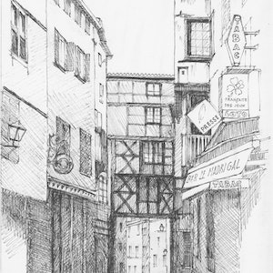 (CreativeWork) Bridge over narrow street in Thiers, France by Dai Wynn. drawing. Shop online at Bluethumb.
