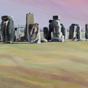 (CreativeWork) Stonehenge	 by Julie Cane. oil-painting. Shop online at Bluethumb.