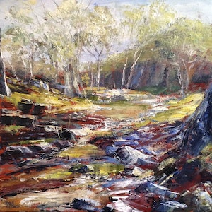 (CreativeWork) Dry Creek Bed by Libby Cusick. arcylic-painting. Shop online at Bluethumb.