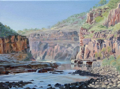 (CreativeWork) Katherine Gorge by Julie Cane. oil-painting. Shop online at Bluethumb.