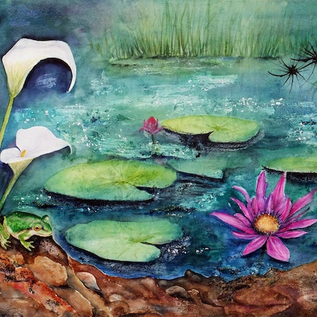(CreativeWork) The Frog's Pond by Michelle Henderson. Mixed Media. Shop online at Bluethumb.