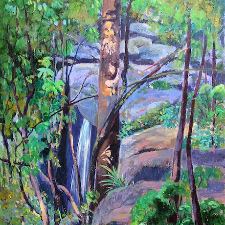 (CreativeWork) Waterfall St Bernard's Tamborine Mountain Qld  by Virginia McGowan. Acrylic Paint. Shop online at Bluethumb.