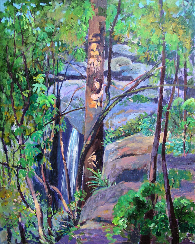 (CreativeWork) Waterfall St Bernard's Tamborine Mountain Qld  by Virginia McGowan. arcylic-painting. Shop online at Bluethumb.