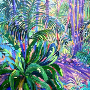 (CreativeWork) Mt. Tamborine Botanical Gardens Walkway by Virginia McGowan. arcylic-painting. Shop online at Bluethumb.