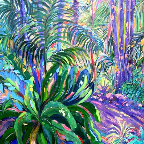 (CreativeWork) Mt. Tamborine Botanical Gardens Walkway by Virginia McGowan. Acrylic Paint. Shop online at Bluethumb.