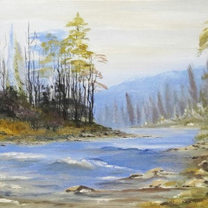 (CreativeWork) Franklin River  by Janine Koefoed. oil-painting. Shop online at Bluethumb.