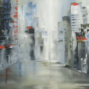 (CreativeWork) City scape 1 by Janine Koefoed. oil-painting. Shop online at Bluethumb.