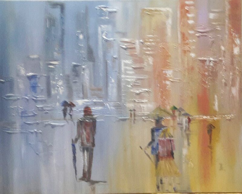 (CreativeWork) Work days by Janine Koefoed. oil-painting. Shop online at Bluethumb.