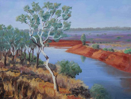 (CreativeWork) Northern Territory Dam by Julie Cane. oil-painting. Shop online at Bluethumb.