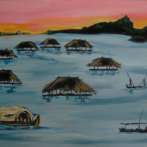 (CreativeWork) Fishing cove by Hiten Mistry. arcylic-painting. Shop online at Bluethumb.