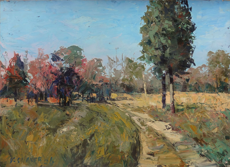 (CreativeWork) Country Road 1 by Valiollah Shaker. oil-painting. Shop online at Bluethumb.
