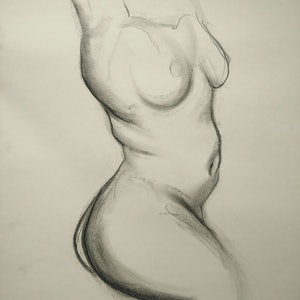 (CreativeWork) Nude Study in the Brett Whiteley Studio (Female) by Yehoshua Viles. drawing. Shop online at Bluethumb.