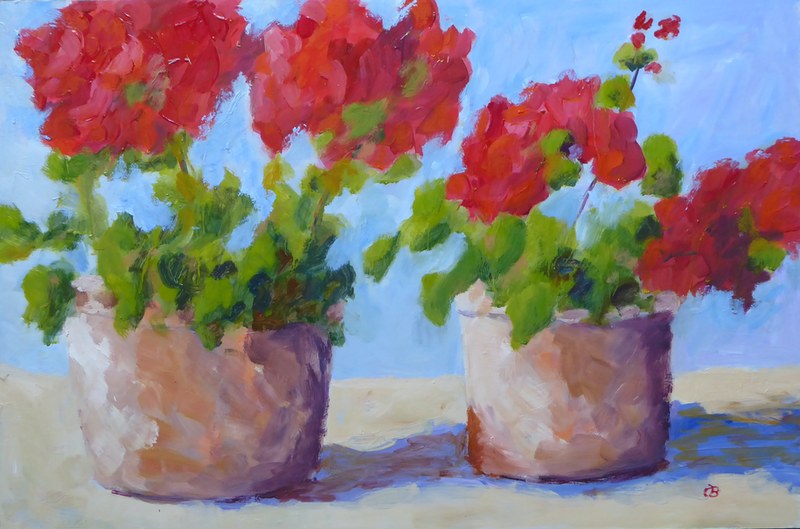 (CreativeWork) Geraniums in Garden Pots by Barry O'Brien. oil-painting. Shop online at Bluethumb.