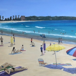 (CreativeWork) Manly Summer by Kylie Genrich. Acrylic Paint. Shop online at Bluethumb.